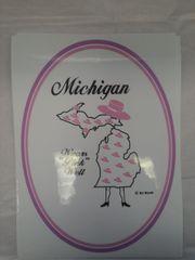 Pink MIchigan 2 Window Cling
