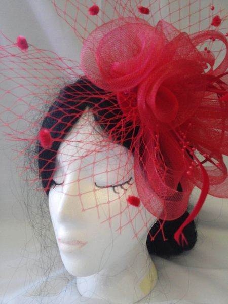 Red Fascinator with Netting #1396