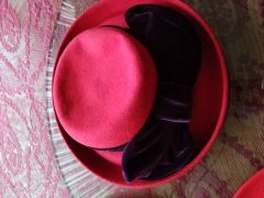 Red Wool Hat with Purple Band 418245