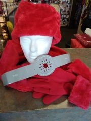 Red 4 PC Scarf, Hat and Gloves Set 4PC