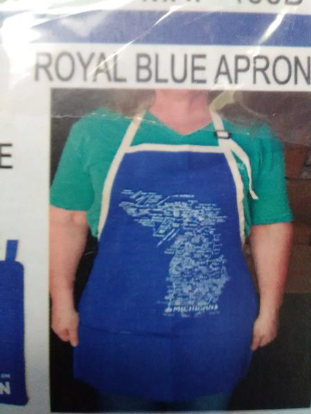 Blue and White Michigan Apron BMA