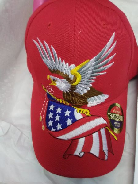 Red Cap with Flag and American Eagle RCAE