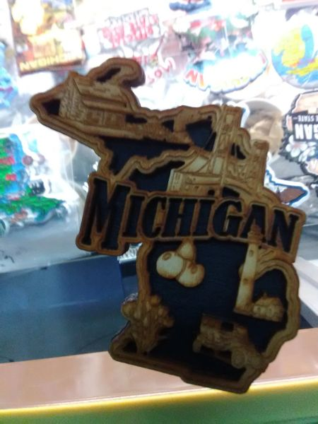 Wooden Michigan Magnet WMM