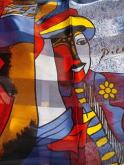 Blue, Red, Yellow, White Picasso Scarf