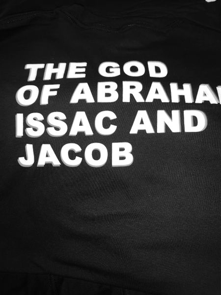 BLACK SHIRT- FAST PRAY AND OBEY/ BACK THE GOD OF ABRAHAM ISSAC AND JACOB