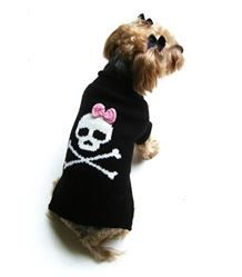 Sweater - Jolly Roger Black Skull with Pink Bow