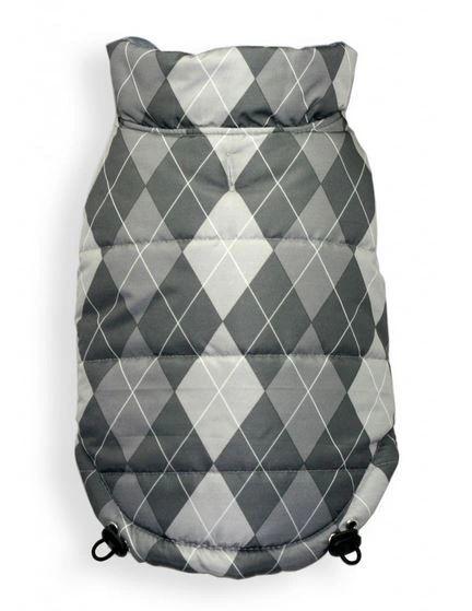 Puffer Vest - Reversible Silver Argyle