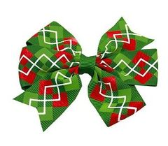 Hair Bow - Christmas Argyle Print