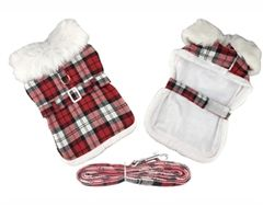 Red and White Plaid Fur Trimmed Harness Coat