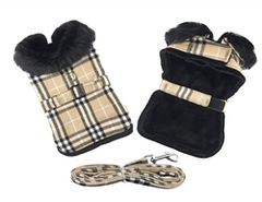 Brown Plaid Classic Fur Trimmed Harness Coat