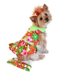 Red Hawaiian Hibiscus Harness Dress
