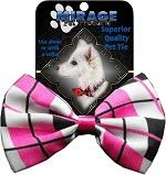 Bow Tie - Valentine's Pink and Black Plaid Bow Tie
