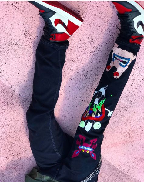 Hand Painted aaahh!!! real monsters Jeans 1of1
