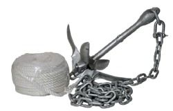 H2o Galvanised Folding Anchor 1.5 Kg With Chain & Rope