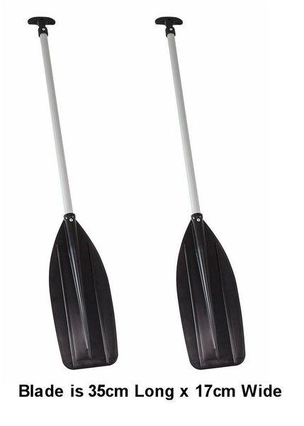 H2o Raft/Canoe Paddle 124cm Black Blade T Handle Pair