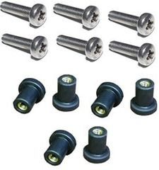 M5 Neoprene Well Nut With 20mm A4 Stainless Steel Pozi Screw (Pack 6) (E)