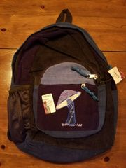 Corduroy Backpack with Mushroom Embroidery