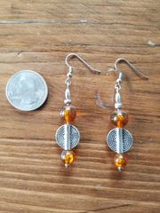 Amber Glass and Silver Earrings