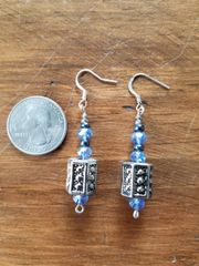 Blue and Silver Barrel Bead Earrings