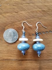 Blue and Sand Bead Earrings
