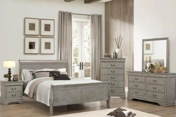 Louis sleigh bedroom set in gray finish