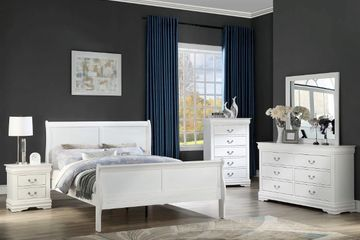 Louis sleigh bedroom set in white finish