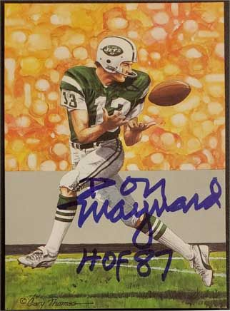 "Don Maynard signed Goal Line Art Card (GLAC), ""HOF 87"""
