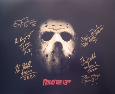 Jason Voorhees signed 16x20 by 6 actors that played Jason, RARE!!!