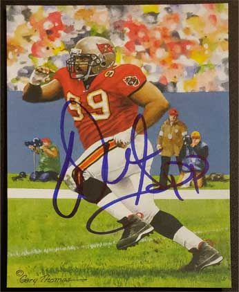 Warren Sapp signed Goal Line Art Card (GLAC)