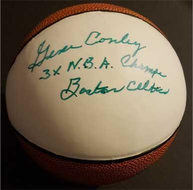 "Gene Conley Signed mini basketball, ""3x N.B.A. Champs, Boston Celtics"""
