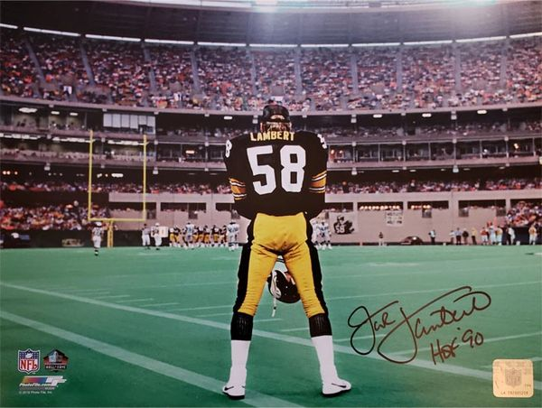 Jack Lambert autograph 11x14 photo, Pittsburgh Steelers, HOF