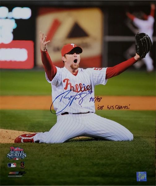Brad Lidge autograph 16x20, Philadelphia Phillies, 2 inscriptions