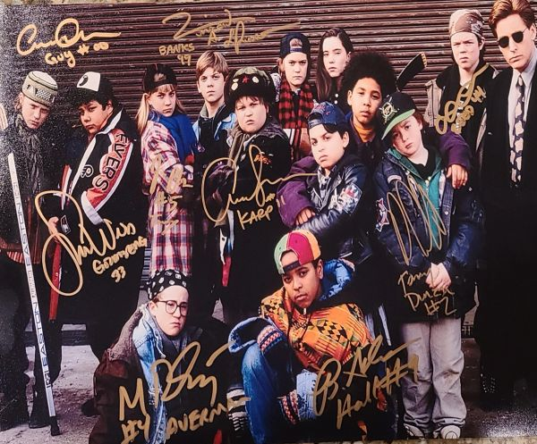 11x14 Mighy Ducks photo already signed by 9 cast member, and will include Emilio Etevez during signing, Deadline 29 March 2021
