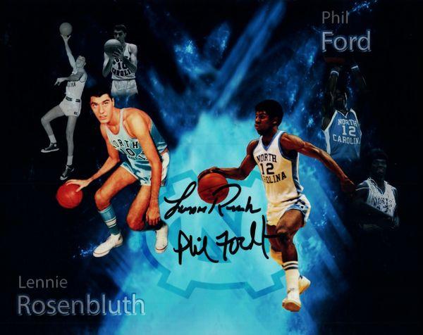Phil Ford/Lennie Rosenbluth autograph 8x10, UNC Tar Heels