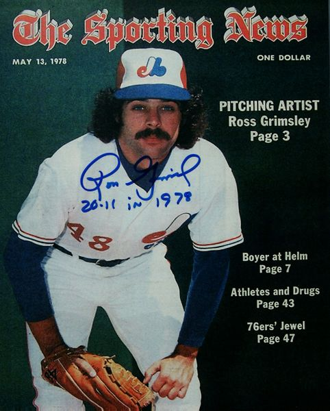 Ross Grimsley autograph 8x10, Montreal Expos, 20-11 inscription, Sporting News