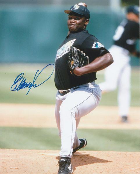 Esteban Yan autograph 8x10, Tampa Bay Devil Rays