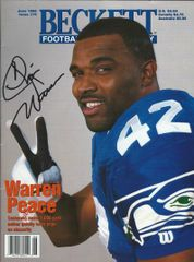 Chris Warren autograph Jun 1996 Beckett Magazine, Seahawks