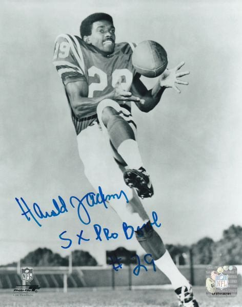 Harold Jackson autograph 8x10, Los Angeles Rams, 5x Pro Bowl inscription