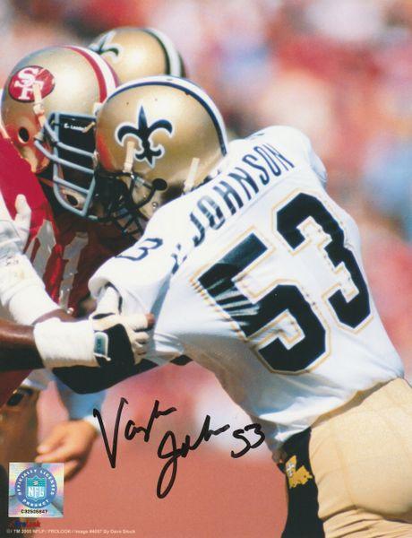 Vaughan Johnson autograph 8x10, New Orleans Saints