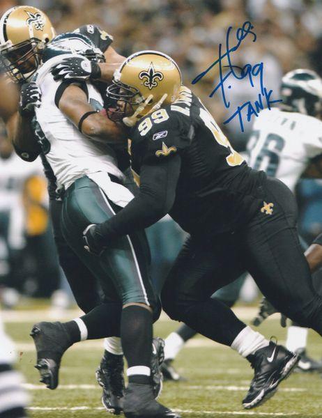 Hollis Thomas autograph 8x10, New Orleans Saints, TANK