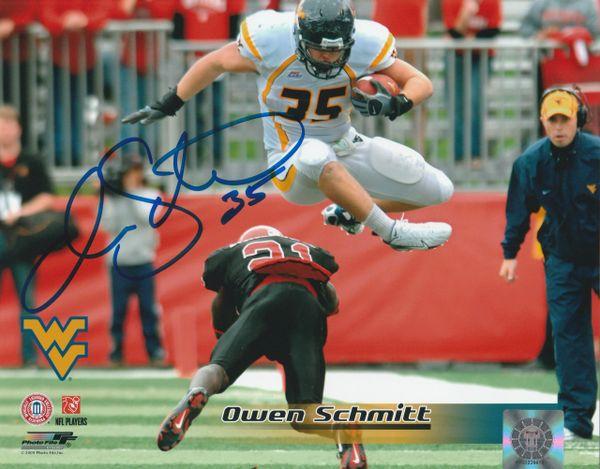 Owen Schmitt autograph 8x10, West Virginia Mountaineers