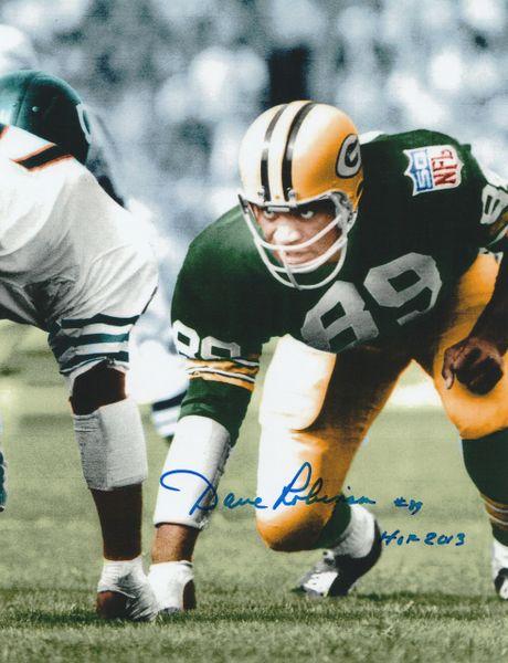 Autograph Dave Robinson 8x10, Green Bay Packers, Inscription: HOF 13