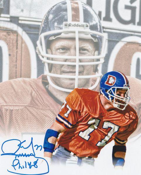 Karl Mecklenburg autograph custom 8x10, Denver Broncos, Phil 14:8