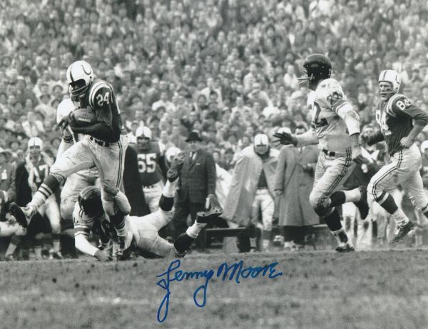 Lenny Moore autograph 8x10, Baltimore Colts