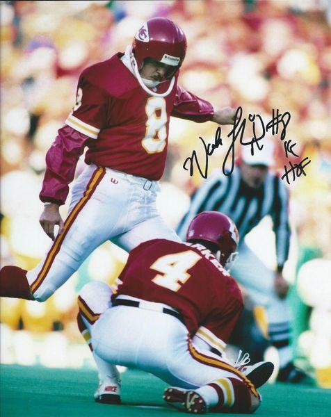 Nick Lowery autograph 8x10, Kansas City Chiefs; KC HOF