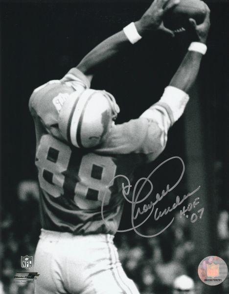 Charlie Sanders autograph 8x10, Detroit Lions, HOF 07