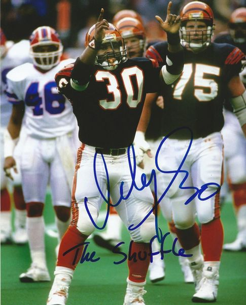 Ickey Woods autograph 8x10, Cincinnati Bengals w/ inscription