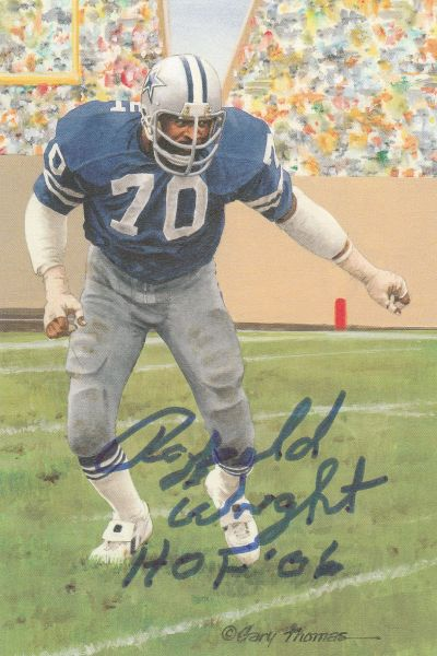 Rayfield Wright signed Goal Line Art Card (GLAC), HOF 06