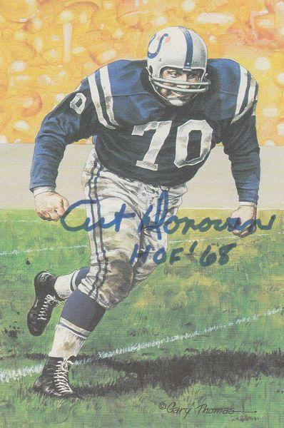Art Donovan signed Goal Line Art Card (GLAC), HOF 68