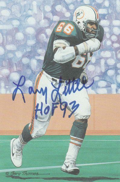 Larry Little signed Goal Line Art Card (GLAC), HOF 93